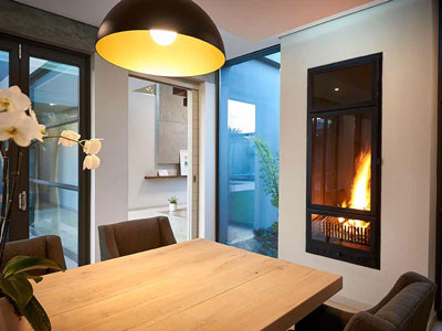 850mm Double-sided Built-in Fireplace with stainless steel trim