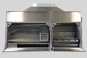 2050mm stainless combination braai