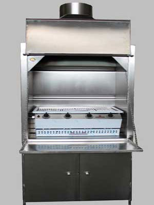 900mm stainless steel Freestanding braai with 4burner gas BBQ