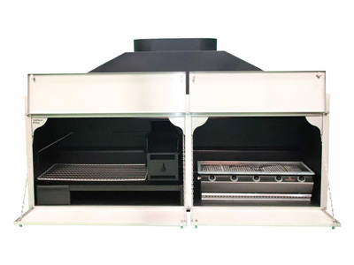 2250mm Combination braai with 5burner gas BBQ and stainless trim