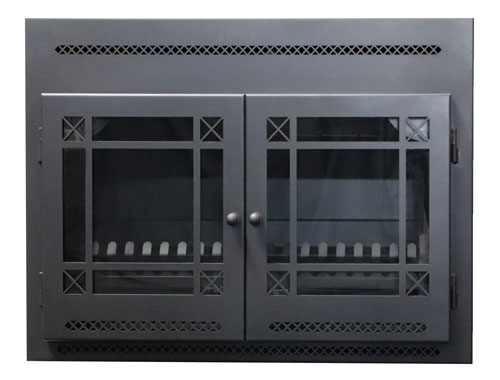 850 mm Contemporary fireplace- with Diamond pattern doors
