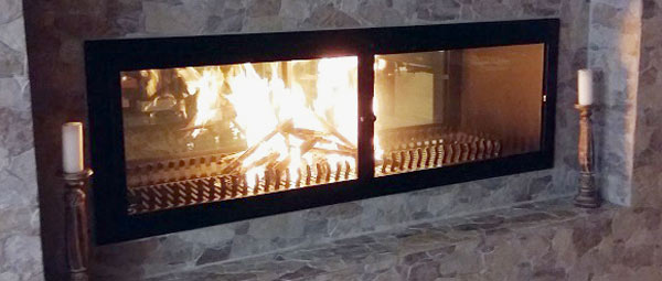 1500mm double-sided fireplace