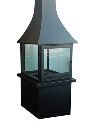 Square glass fireplace with bell-shape gather
