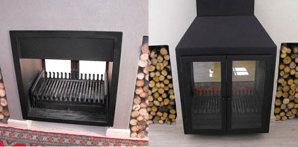 Double-sided fireplace - Built-in on one side and Freestanding on the other.