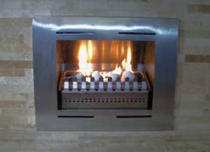 Stainless steel firebox with ventless gas burner